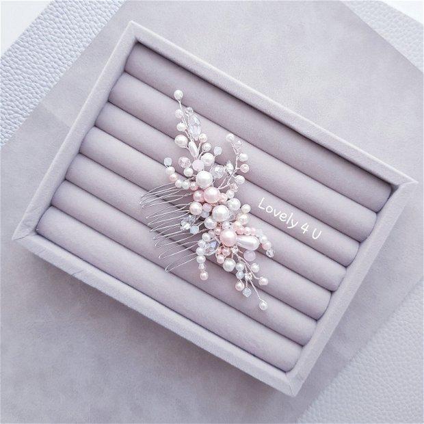 Accesoriu pentru par elegant - Romelia , Accesoriu cu perle și cristale