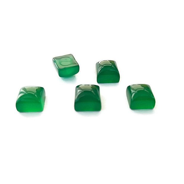 Cabochon agat verde patrat 8mm