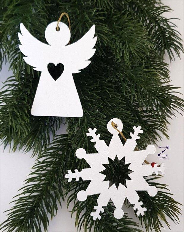 Ornamente Craciun, set ornamente, ornament fulg zapada, set ornamente lemn, set ornamente brad, decoratiune fulg zapada, glob lemn, glob fulg zapada, glob ingeras, ornament ingeras