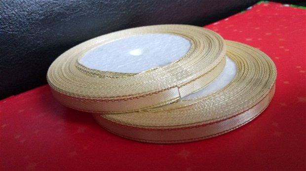 22m Banda satin (6mm) galben cu fir argintiu