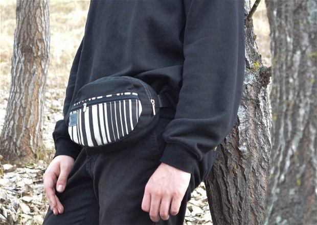 Borseta Dark Stripes, unisex
