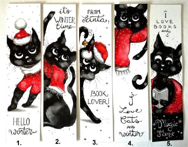 Semne de Carte pentru Sarbatori, Craciun, Iarna -  Pictura in Acuarela, Cadou Original, Pisici, Carti - Nature & Colors Collection