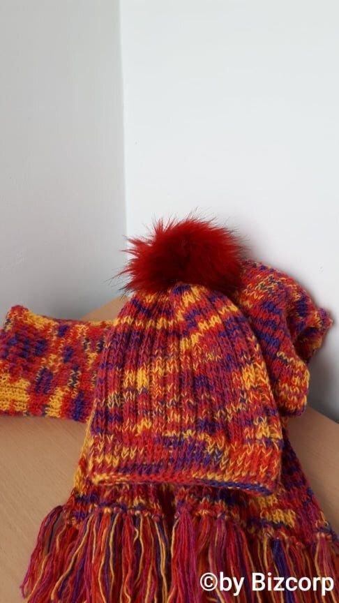 Set caciula+fular dama multicolor