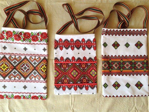 Trăistuțe tradiționale cu model românesc. Bumbac.
