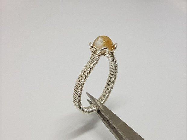 Inel handmade , inel cu citrine, Inel argint 925,Inel sarma argintata