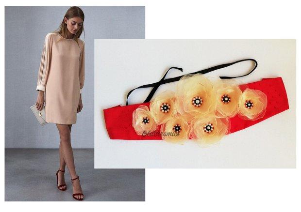 Brau / centura  cu flori  si margele ivory