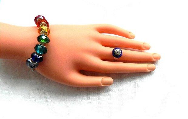 Set brăţară şi inel pandora rainbow