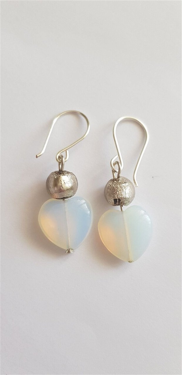 Cercei inima opal