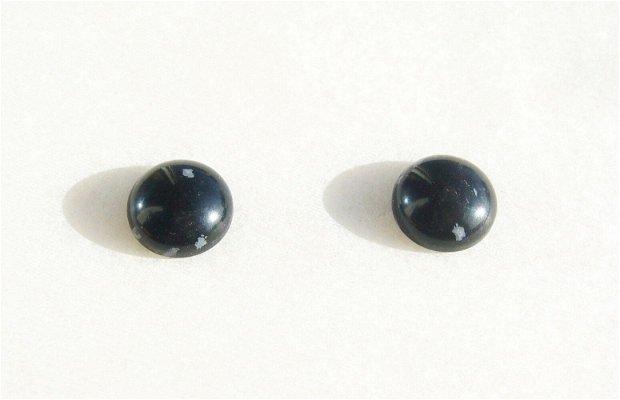 (2 bucati) Cabochon snowflake obsidian aprox 12x5 mm