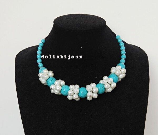 Colier turcoaz si perle