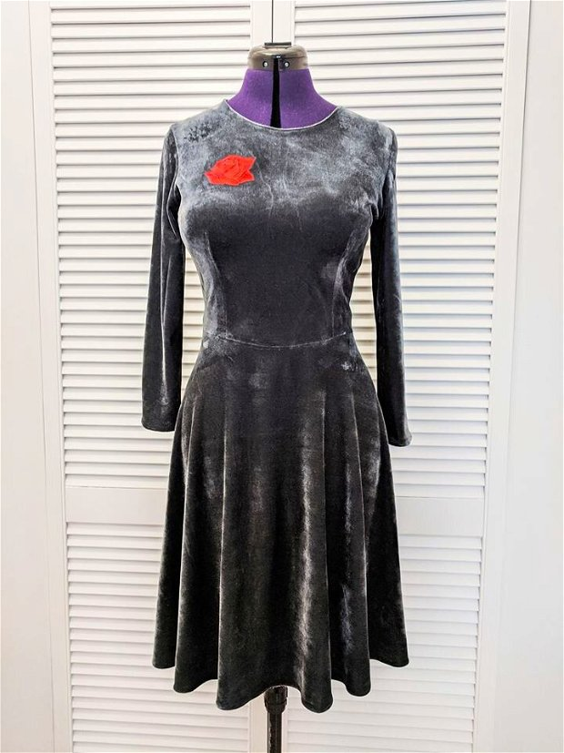 Red Rose Silver Dress