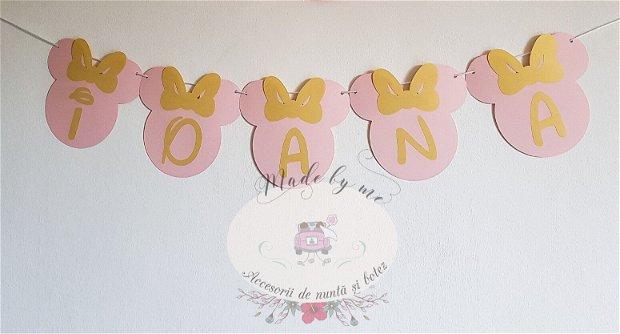 Ghirlanda Minnie Mouse auriu cu roz