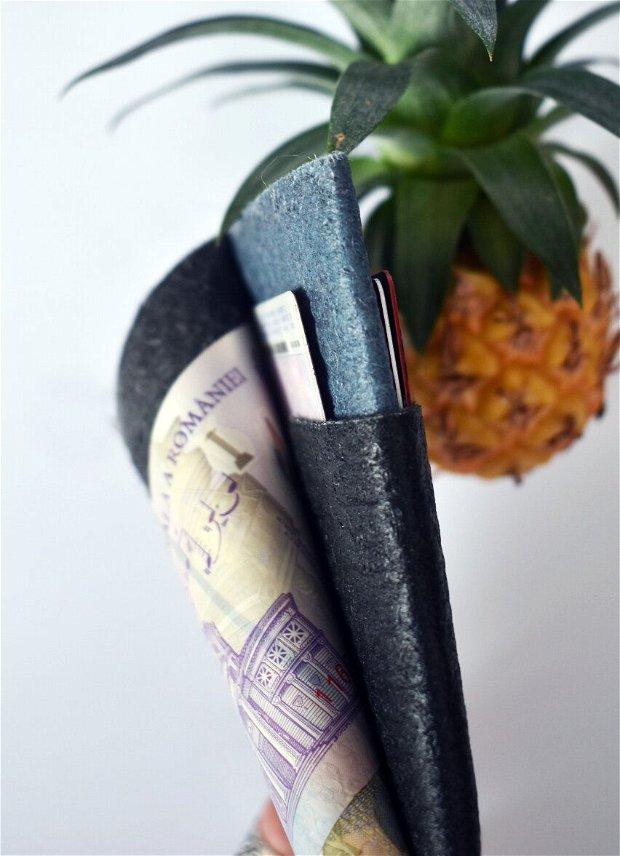 "Portofel ""SMART XS"" din Pinatex / piele de ananas, slim, personalizat prin gravura"