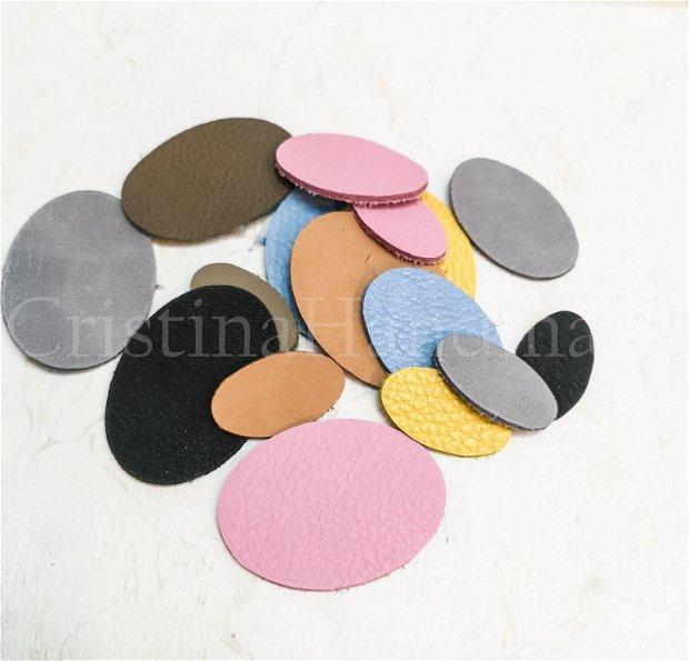 50b ovaluri din piele, pentru aplicatii, bijuterii, martisoare ..