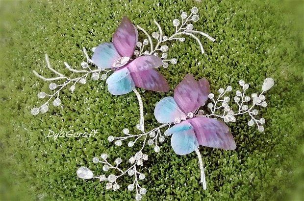 Accesoriu par mirese fluture matase naturala