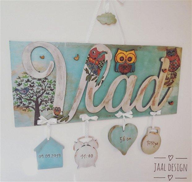 Nume decorativ din lemn, pentru copii