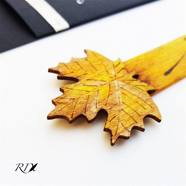 Semn de carte din lemn, cu frunză - Just dream