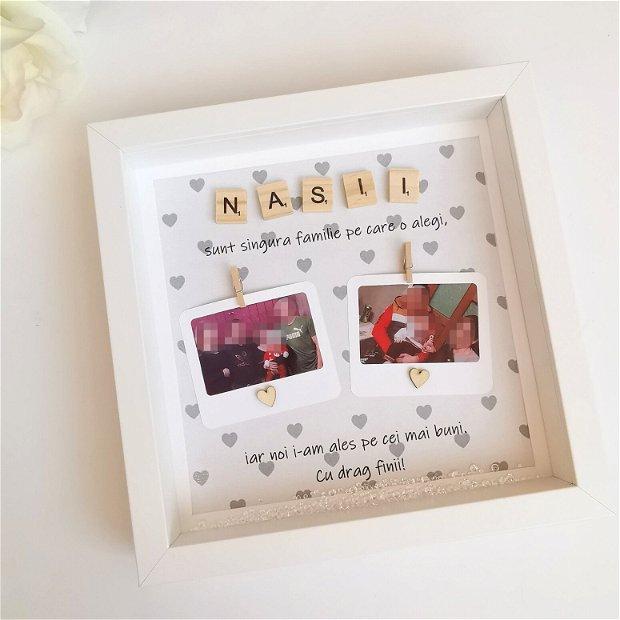 Ramă foto pentru nași | Cadou pentru nași | Ramă foto personalizată | 2 Poze Polaroid incluse