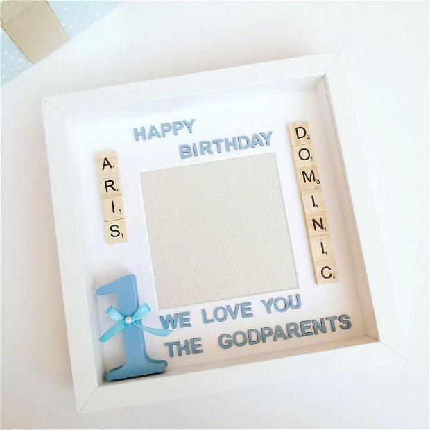 Rama foto aniversare 1 an băiat sau fată | Ramă decorativă | Cadou tăierea moțului