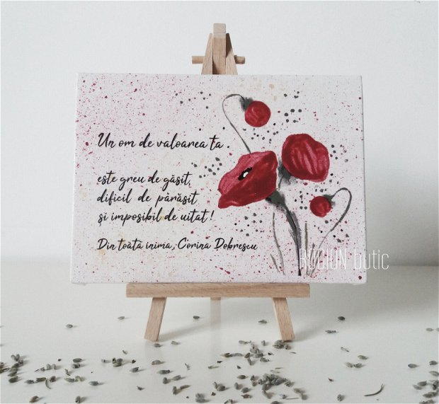 Tablou maci pictat manual personalizat cu mesaj