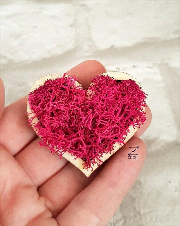 Martisor inima licheni, brosa inima licheni, brosa licheni stabilizati, martisor natural, brosa inima, brosa licheni