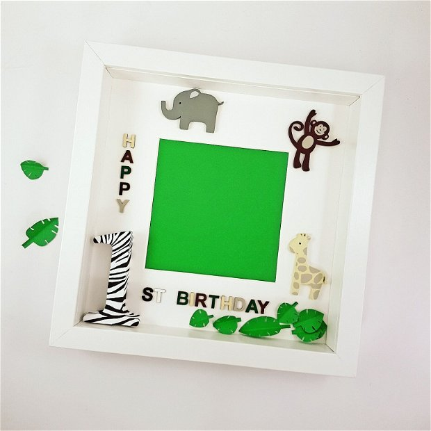 Ramă foto cu tema junglă | Cadou aniversare 1 an băiat | Decor cu animale | Jungle theme || Cadou băiat