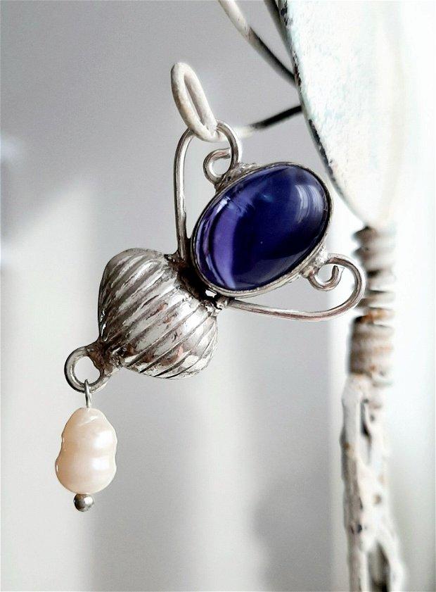 Bază pandantiv/medalion argintat cu perlă de cultură și ametist