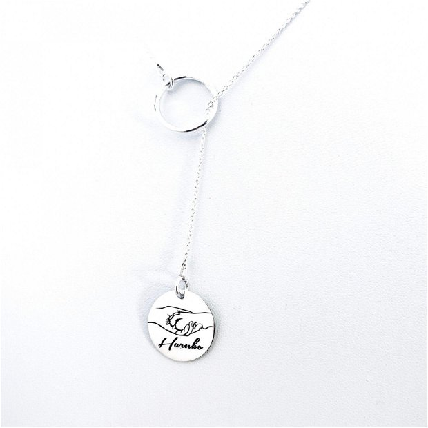 Pure Love - Colier asimetric argint cu banut gravat - Colier personalizat