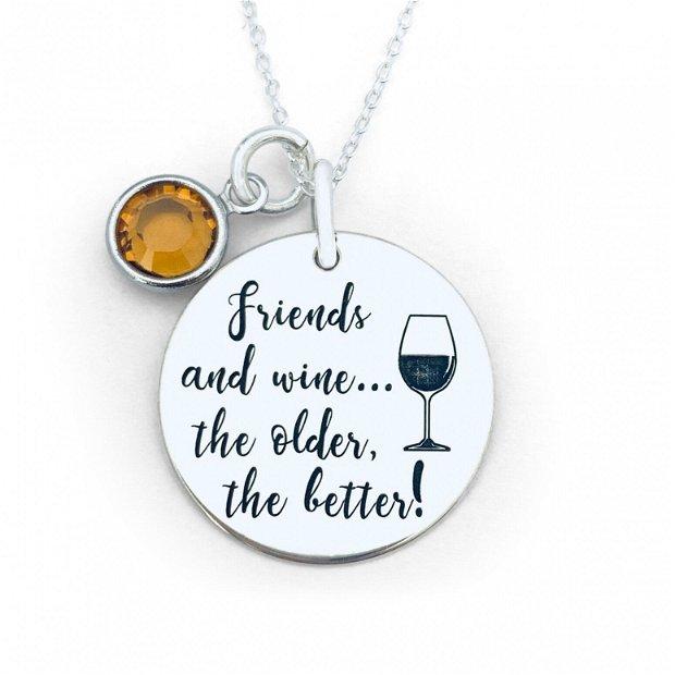 Friends and Wine... - Colier argint cu banut personalizat - Cristal Swarovski
