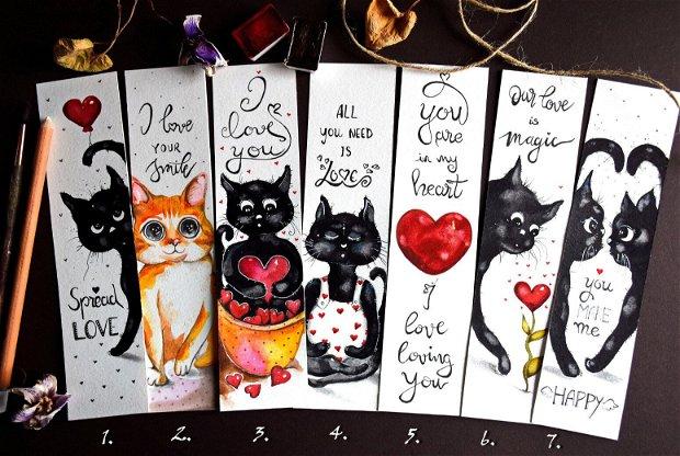 Semne de Carte - Sfantul Valentin, Dragobete, Pisici, carti, Pictura in Acuarela, Cadou Original, Carti - Nature & Colors Collection