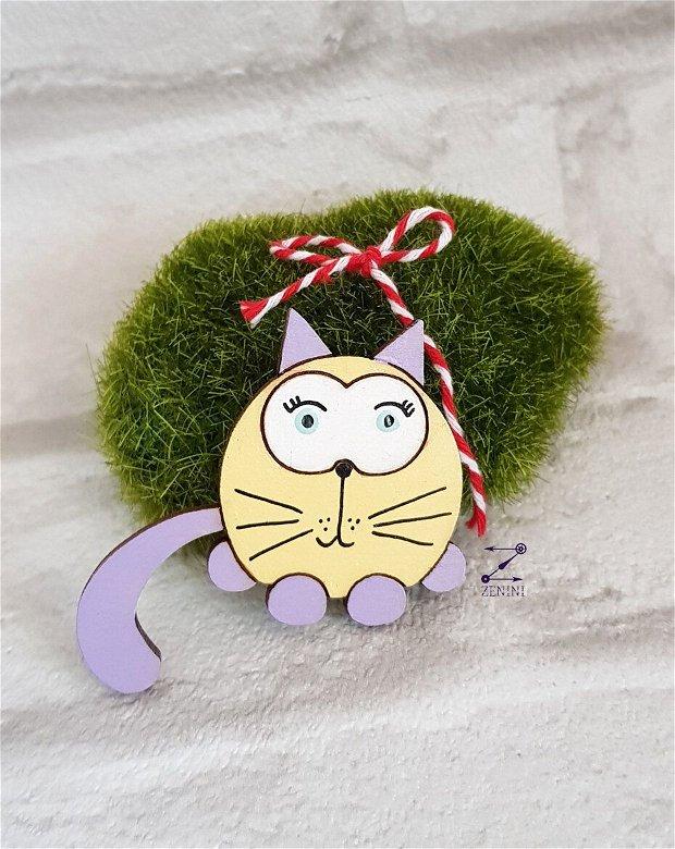 Martisor pisica, brosa martisor, pisica pictata, martisor pisica lemn, brosa pisica colorata