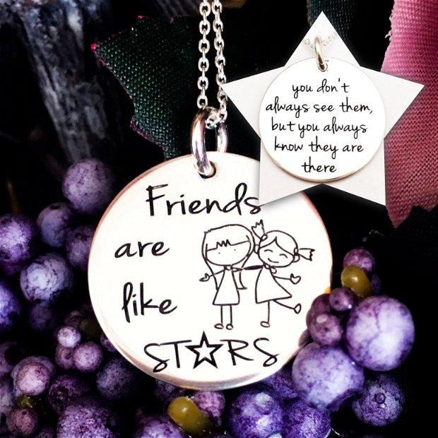 Sisters - Cadou surori - Colier argint banut personalizat