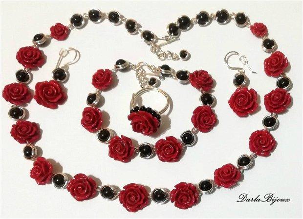 Set trandafiri rosii si onix
