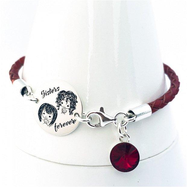 Sisters Forever - Bratara argint cu mesaj- Bratara personalizata Surori