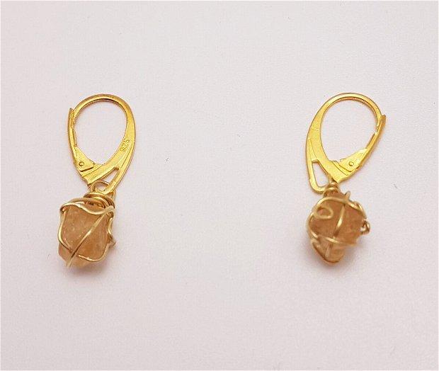 cercei unicat din argint aurit, cu cristale de topaz imperial