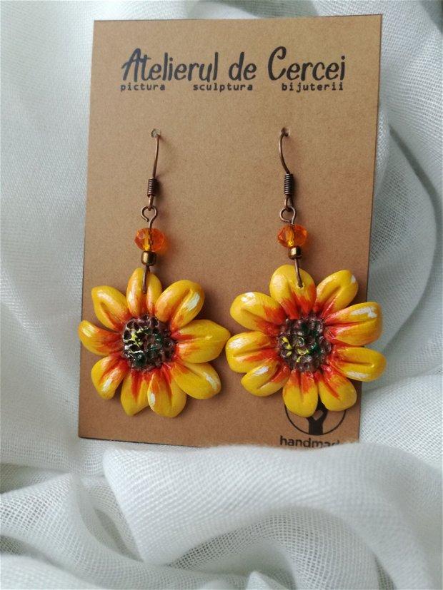 Cercei flori de soare - modelati si pictati manual