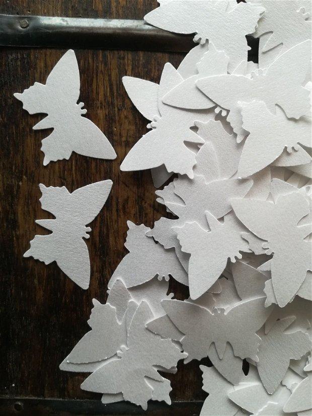 200 fluturi decupati din alba, elegantă, sidefata