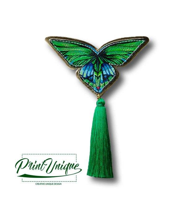 Brosa Papillon (verde jad)
