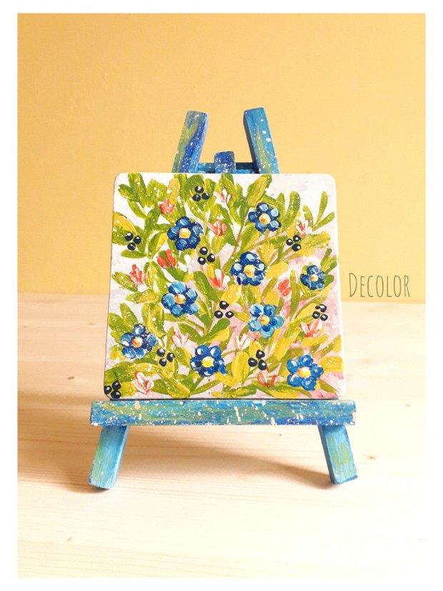 Flori de in | Pictură pe lemn