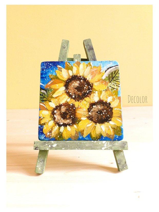 Floarea Soarelui   Pictură pe lemn