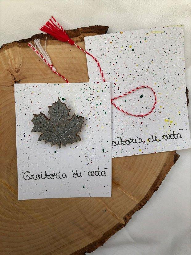 Mărțișoare frunze pictate