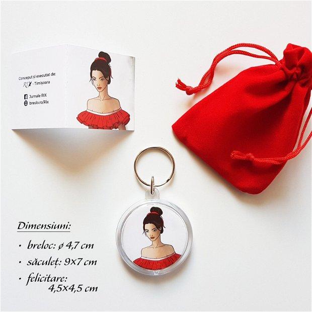 BARCELONA - Set cadou (breloc + saculeț + felicitare)