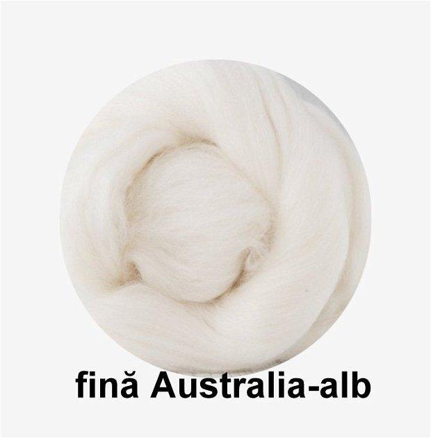 lana fina Australia-alb curat
