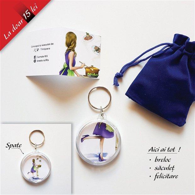 IUBESC SA GĂTESC - Set cadou (breloc + saculeț + felicitare)