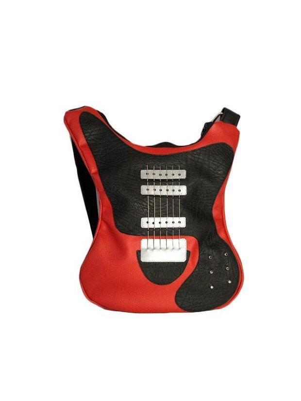 Geanta chitara rosie din piele vegana