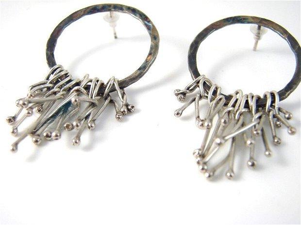 Cercei ciucuri, din argint 925, cu tija
