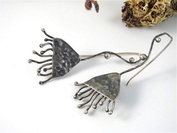 Cercei lungi din argint 925, cu tija, floare de eucalipt