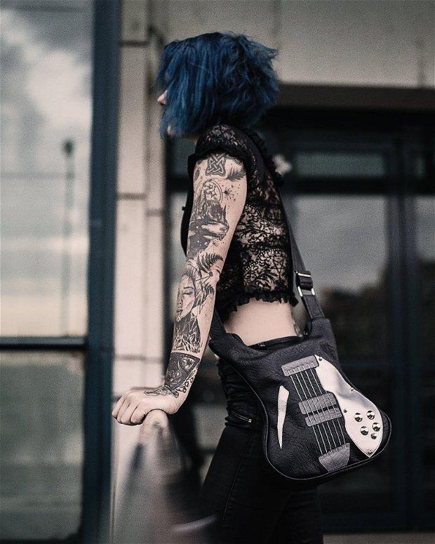 Geanta Black Guitar din piele