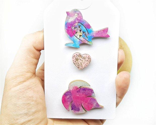 Set brose cu pin in nuante de roz si albastru