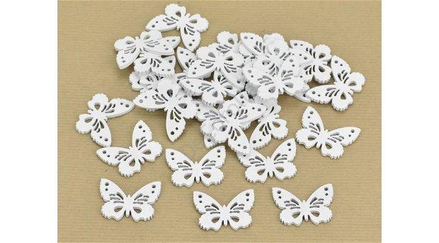 Figurine din lemn- fluturasi albi 3 x 4 cm -4419